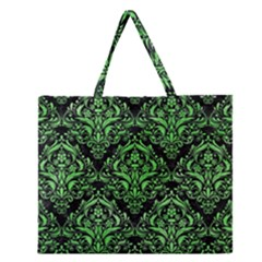 Damask1 Black Marble & Green Watercolor Zipper Large Tote Bag
