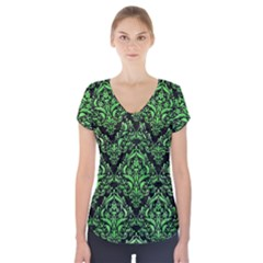 Damask1 Black Marble & Green Watercolor Short Sleeve Front Detail Top