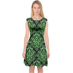 Damask1 Black Marble & Green Watercolor Capsleeve Midi Dress