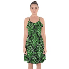 Damask1 Black Marble & Green Watercolor Ruffle Detail Chiffon Dress