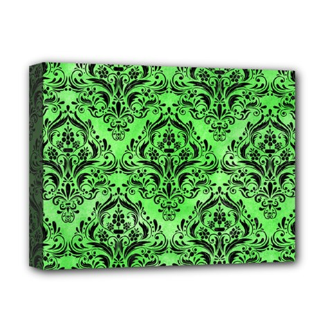 Damask1 Black Marble & Green Watercolor (r) Deluxe Canvas 16  X 12