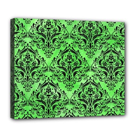 Damask1 Black Marble & Green Watercolor (r) Deluxe Canvas 24  X 20