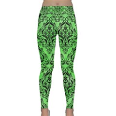Damask1 Black Marble & Green Watercolor (r) Classic Yoga Leggings