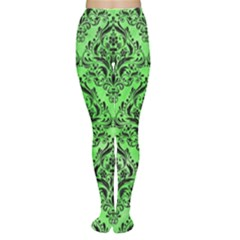 Damask1 Black Marble & Green Watercolor (r) Women s Tights