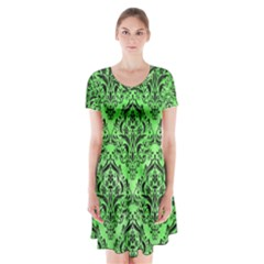Damask1 Black Marble & Green Watercolor (r) Short Sleeve V Neck Flare Dress
