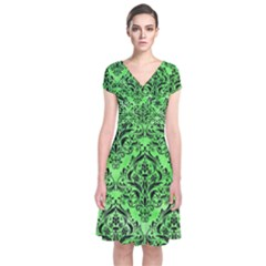 Damask1 Black Marble & Green Watercolor (r) Short Sleeve Front Wrap Dress