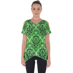 Damask1 Black Marble & Green Watercolor (r) Cut Out Side Drop Tee