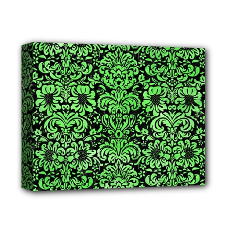 Damask2 Black Marble & Green Watercolor Deluxe Canvas 14  X 11