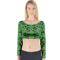 Damask2 Black Marble & Green Watercolor Long Sleeve Crop Top