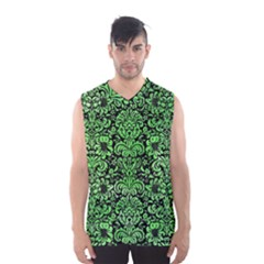 Damask2 Black Marble & Green Watercolor Men s Basketball Tank Top