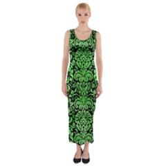 Damask2 Black Marble & Green Watercolor Fitted Maxi Dress