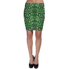 Damask2 Black Marble & Green Watercolor (r) Bodycon Skirt