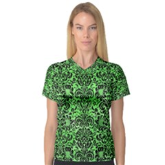 Damask2 Black Marble & Green Watercolor (r) V Neck Sport Mesh Tee