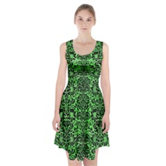 Damask2 Black Marble & Green Watercolor (r) Racerback Midi Dress
