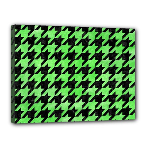 Houndstooth1 Black Marble & Green Watercolor Canvas 16  X 12