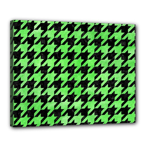 Houndstooth1 Black Marble & Green Watercolor Canvas 20  X 16