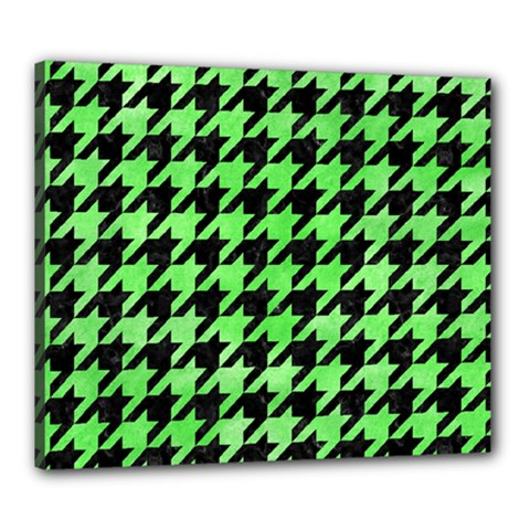 Houndstooth1 Black Marble & Green Watercolor Canvas 24  X 20
