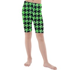 Houndstooth1 Black Marble & Green Watercolor Kids  Mid Length Swim Shorts