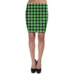 Houndstooth1 Black Marble & Green Watercolor Bodycon Skirt