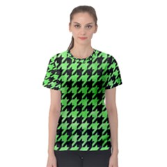 Houndstooth1 Black Marble & Green Watercolor Women s Sport Mesh Tee