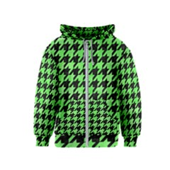 Houndstooth1 Black Marble & Green Watercolor Kids  Zipper Hoodie