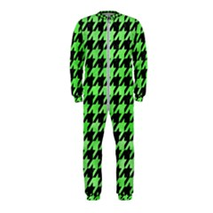 Houndstooth1 Black Marble & Green Watercolor Onepiece Jumpsuit (kids)