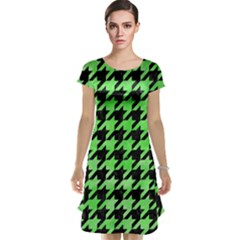 Houndstooth1 Black Marble & Green Watercolor Cap Sleeve Nightdress
