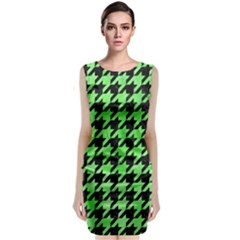 Houndstooth1 Black Marble & Green Watercolor Classic Sleeveless Midi Dress