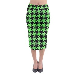 Houndstooth1 Black Marble & Green Watercolor Midi Pencil Skirt