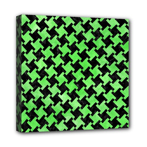 Houndstooth2 Black Marble & Green Watercolor Mini Canvas 8  X 8