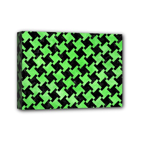 Houndstooth2 Black Marble & Green Watercolor Mini Canvas 7  X 5