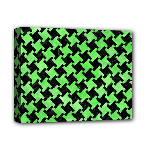 Houndstooth2 Black Marble & Green Watercolor Deluxe Canvas 14  X 11