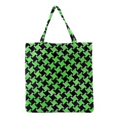 Houndstooth2 Black Marble & Green Watercolor Grocery Tote Bag