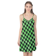 Houndstooth2 Black Marble & Green Watercolor Camis Nightgown