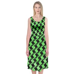 Houndstooth2 Black Marble & Green Watercolor Midi Sleeveless Dress