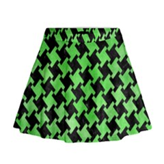 Houndstooth2 Black Marble & Green Watercolor Mini Flare Skirt