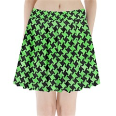Houndstooth2 Black Marble & Green Watercolor Pleated Mini Skirt