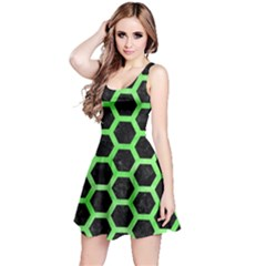 Hexagon2 Black Marble & Green Watercolor Reversible Sleeveless Dress