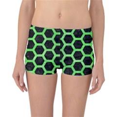 Hexagon2 Black Marble & Green Watercolor Reversible Boyleg Bikini Bottoms
