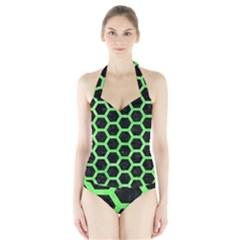 Hexagon2 Black Marble & Green Watercolor Halter Swimsuit