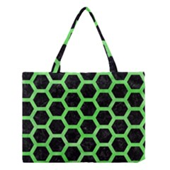 Hexagon2 Black Marble & Green Watercolor Medium Tote Bag
