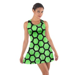 Hexagon2 Black Marble & Green Watercolor (r) Cotton Racerback Dress