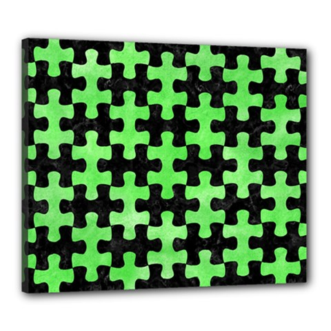Puzzle1 Black Marble & Green Watercolor Canvas 24  X 20