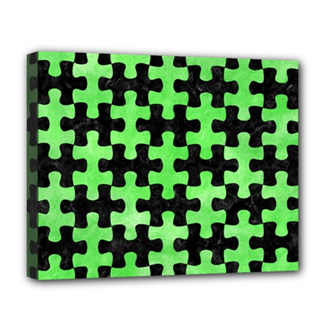 Puzzle1 Black Marble & Green Watercolor Deluxe Canvas 20  X 16