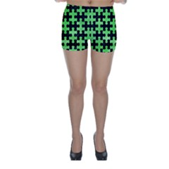 Puzzle1 Black Marble & Green Watercolor Skinny Shorts