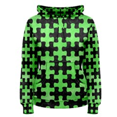 Puzzle1 Black Marble & Green Watercolor Women s Pullover Hoodie
