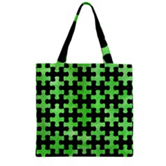 Puzzle1 Black Marble & Green Watercolor Zipper Grocery Tote Bag