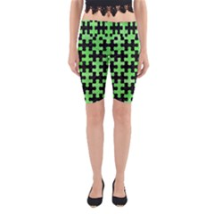 Puzzle1 Black Marble & Green Watercolor Yoga Cropped Leggings