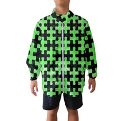 Puzzle1 Black Marble & Green Watercolor Wind Breaker (kids)