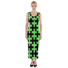 Puzzle1 Black Marble & Green Watercolor Fitted Maxi Dress